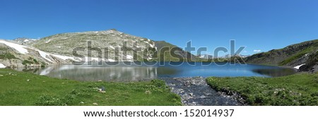 Beautiful panorama of a Swiss alpine lake - Lago Retico