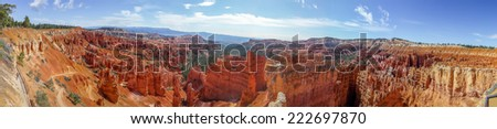 beautiful panorama of bryce canyon national park utah - stock photo