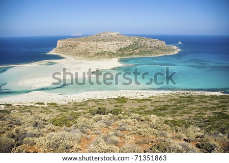 Beautiful panorama of greek lagoon in Crete - stock photo