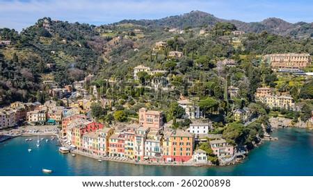 Beautiful panorama of Portofino, Italy - stock photo