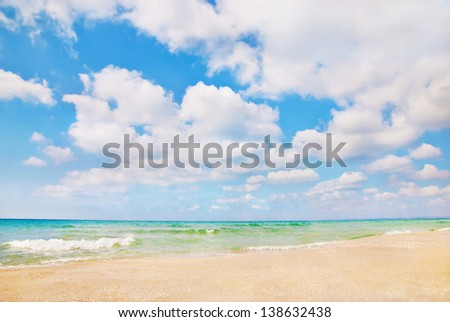 Beautiful panorama of sandy sea beach with waves and blue cloudy sky - stock photo