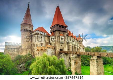 Beautiful panorama of the Corvin castle with wooden bridge,Hunedoara,Transylvania,Romania,Europe - stock photo