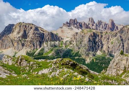Beautiful panorama of the peaks of the Italian Alps, Passo Falzarego, Dolomites Mountains, Italy - stock photo