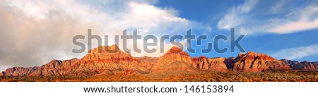 Beautiful panorama of the red Rock mountains in nevada - stock photo