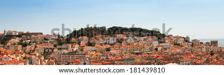 Beautiful panorama of the skyline and castle Sao Jorge in Lisbon, Portugal