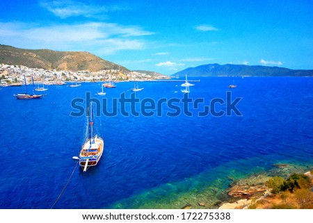 Beautiful panorama oil painting from beautiful tourism city Bodrum - stock photo