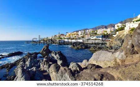 Beautiful panorama on the seaside in Tenerife, on a sunny day - stock photo