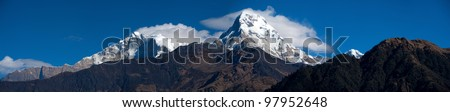 Beautiful panorama view of Himalayan mountains in morning when see from Ghorepani Village, Poon Hill Trekking way, Nepal - stock photo