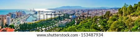 Beautiful panorama view of Malaga city, Spain - stock photo