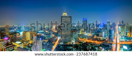 Beautiful panoramic cityscape Bangkok business district and residential. In the twilight, Thailand - stock photo