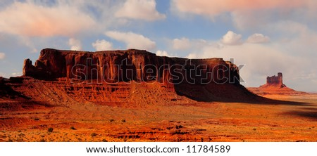 Beautiful panoramic Image of The Cliffs at monument valley