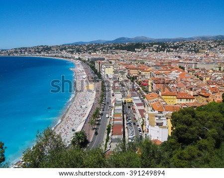 Beautiful   panoramic  view  from  above   of  the  Azure  coast  on  a  summer  day  in  Nice,  Cote d'Azur , France. - stock photo