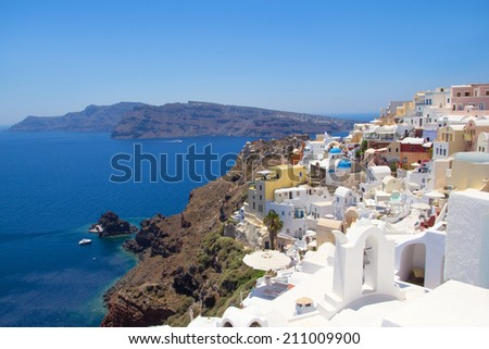 beautiful panoramic view in Oia village on island of Santorini in Greece - stock photo