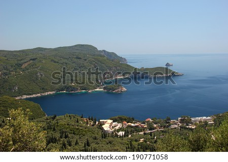 Beautiful panoramic view of a bay at Mediterranean sea. Corfu, Greece - stock photo
