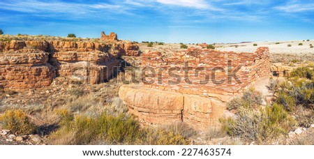 Beautiful Panoramic view of box canyon pueblos in Wupatki National Monument occupied by the Kayenta Anasazi culture from 1120 to 1210