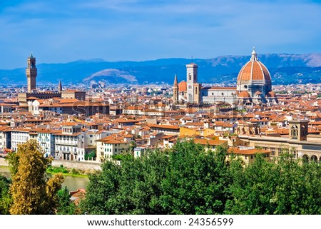 Beautiful panoramic view of Florence, Italy - stock photo