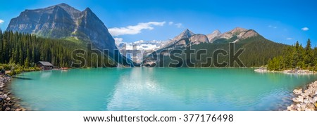 Beautiful panoramic view of Lake Louise mountain lake in Banff National Park on a sunny summer day, Alberta, Canada