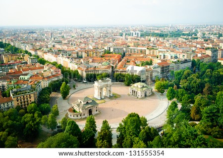 beautiful panoramic view of Milan - stock photo