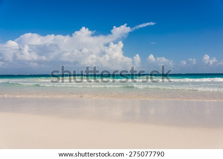 Beautiful Panoramic View of ocean at caribbean destination, traveling Mexico. Central America. - stock photo
