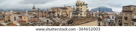 Beautiful panoramic view of Palermo shooting from the roofs of the neighborhood ballaro, Sicily, Italy