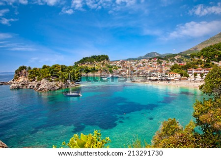 Beautiful panoramic view of Parga city, Greece. - stock photo