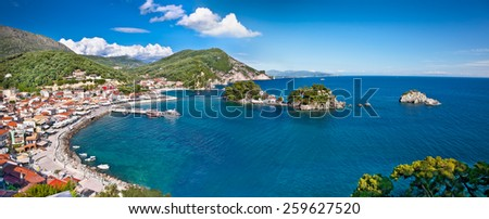 Beautiful panoramic view of Parga port, Greece. - stock photo