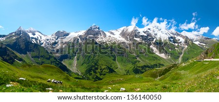 Beautiful panoramic view of the Austrian alps - stock photo