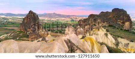 Beautiful panoramic view of the Cappadocia mountains - stock photo