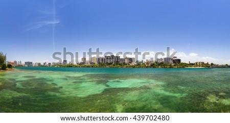Beautiful panoramic view of the green lagoon at San Juan, Puerto Rico - stock photo