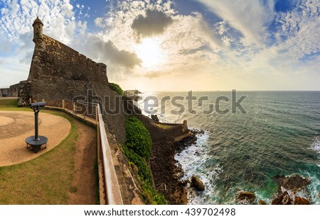 Beautiful panoramic view of the large outer wall with sentry box of fort San Cristobal in San Juan, Puerto Rico - stock photo