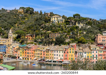 Beautiful panoramic view of the nature and the town Portofino, Italy - stock photo