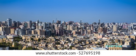 Beautiful panoramic view on Baku, Azerbaijan. Baku is a capital and largest city of Azerbaijan.