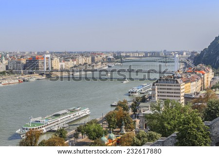 Beautiful panoramic view on Budapest and river Danube from Royal Castle Hill. Budapest, Hungary, Europe. - stock photo