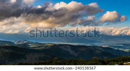 Beautiful panoramic view on High Tatras mountain ridge with sunset clouds