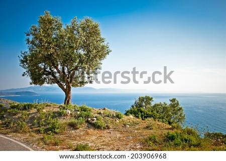 Beautiful panoramic view on ionian sea, Lukova, Albania. - stock photo