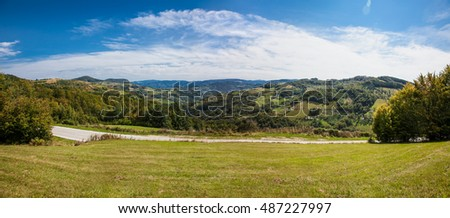 Beautiful panoramic view on meadow  of Golija mountain, Serbia.