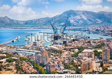Beautiful panoramic view on shipyard of Palermo, Sicily, Italy. - stock photo