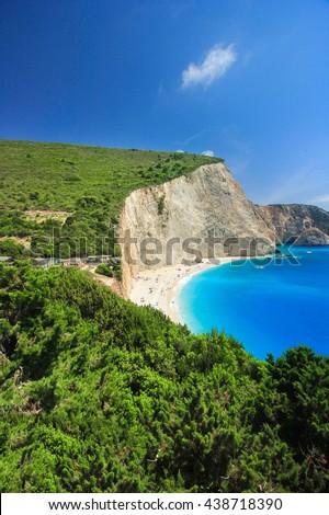 Beautiful panoramic view on turquoise Katsiki beach, Lefkada, Greece. - stock photo