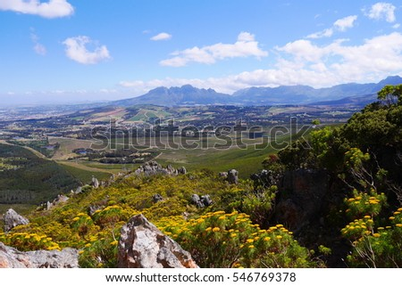 Beautiful panoramic view over the cape landscape south africa