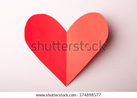 Beautiful paper hearts on white background