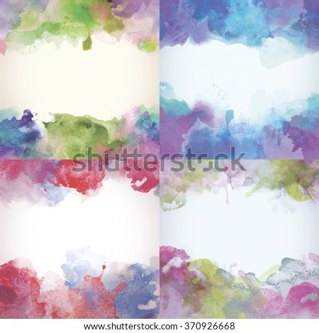 Beautiful Paper Watercolor Backdrops with colorful blobs and place for text. Beautiful Paper Watercolor Backdrops with colorful blobs and place for text. Original design for posters and banners. - stock photo