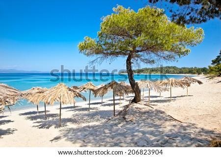 Beautiful Paradiso sand beach on Akra Glarokavos, Kassandra peninsula, Hakidiki, Greece. - stock photo
