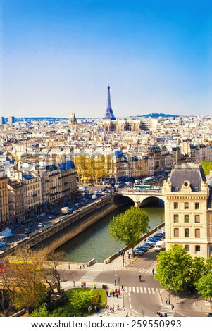 Beautiful Paris cityscape with Eiffel tower, France