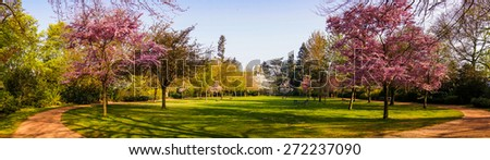 Beautiful park garden in spring. Spring panorama in park - stock photo