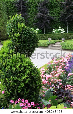 Beautiful park garden in summer with manicured boxwood and geraniums.