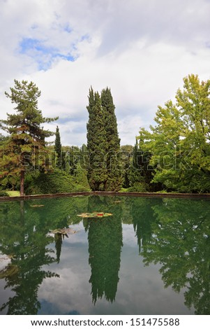 Beautiful park garden Sigurta in northern Italy. Cypress reflected in a pond - stock photo