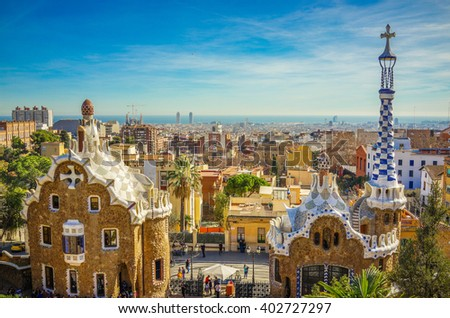 Beautiful Park Guell Cityscape View in Barcelona, Spain.