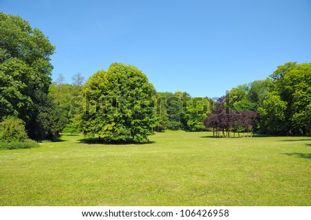 Beautiful park in Brussels in clear day - stock photo