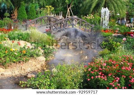 beautiful park in garden - stock photo