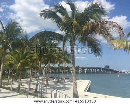 Beautiful park in Miami-Dade County overlooking Biscayne Bay. - stock photo